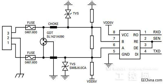 RS-485 interface protection circuit