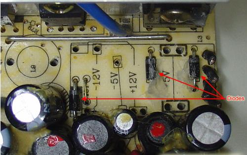 -12 V and -5V negative voltage rectifier diodes