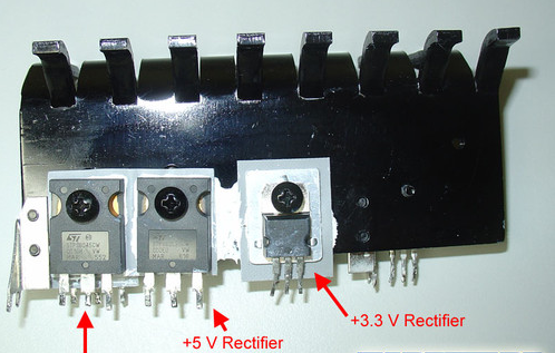 Components on the secondary side of the high-end power supply