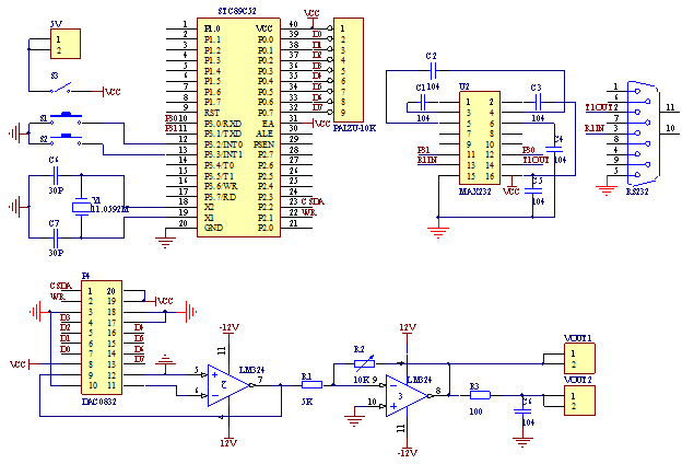 whole circuit--A Signal Generator Project Based on Single Chip Microcomputer 89C51