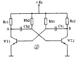 a typical set of discrete components based on the coupling of multivibrato