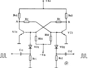 discrete components set base-coupled bistable circuit