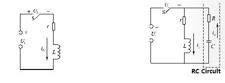 Circuit with inductance and spark absorption circuit