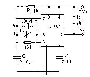 FIG. 5 is an application of a crystal oscillator in a time base oscillating circuit 555