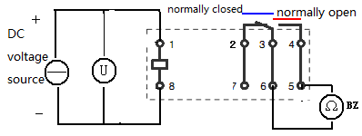 measuring the working voltage range of the relay