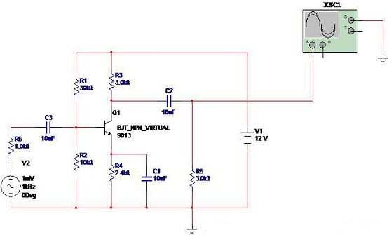 Small-signal common-emitter amplifier circuit