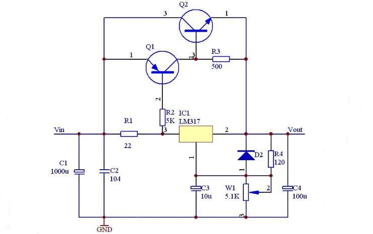 Circuit Design Schematic of Adjustable Voltage Regulated