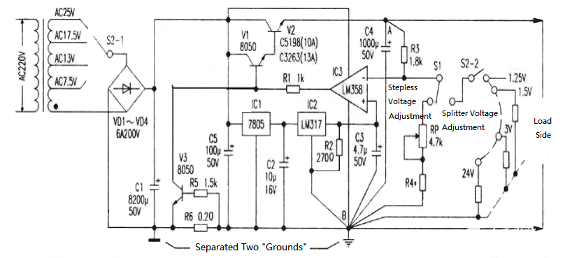 Figure 21.  Circuit of High Current Adjustable Voltage Regulated Power Supply