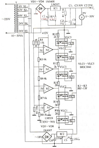Figure 24. Adjustable DC Regulated Power Supply Circuit with LM324 Operational Amplifier