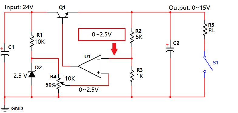 Input=24V, Output=0~15V