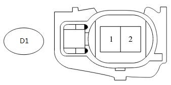 Shape of the connector of the knock sensor harness side