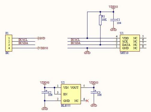 The Schematic of Temperature Sensor&Humidity Sensor