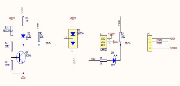 The Schematic of Hall switch sensor