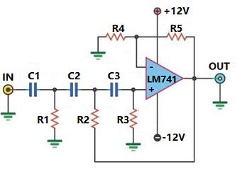 LM741 Active High-pass Filter Circuit