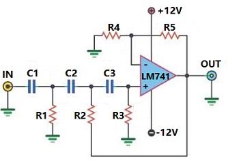 LM741 Active High-pass Filter Circuit