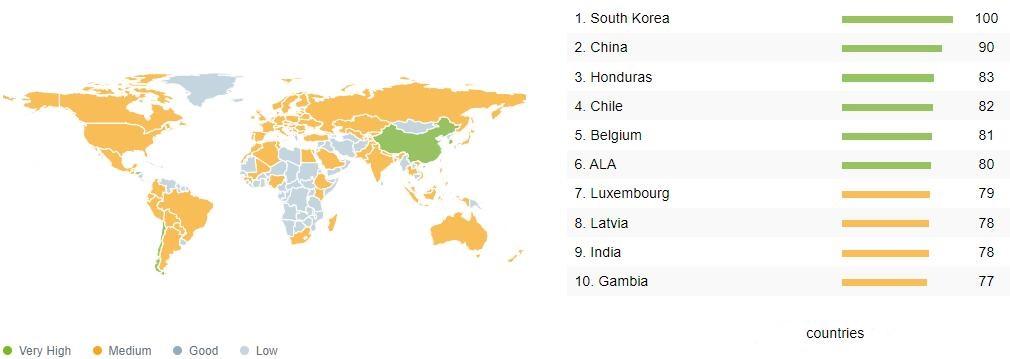 MT29F4G08ABAEAWP-IT:E Popularity by Region