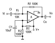 Inverting AC Amplifier Circuit