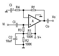Non-inverting AC Amplifier Circuit
