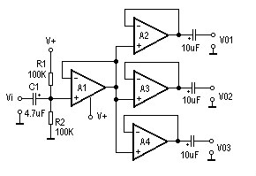 AC Signal Three Distribution Amplifier Circuit