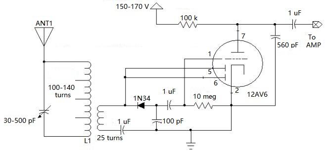 12AV6 Vacuum Tube Radio Circuit