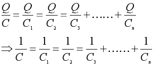 Equation 4 for capacitance in a series combination