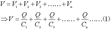 Equation 2 for capacitance in a series combination