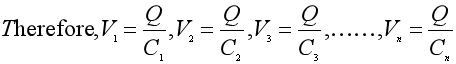 Equation 1 for capacitance in a series combination