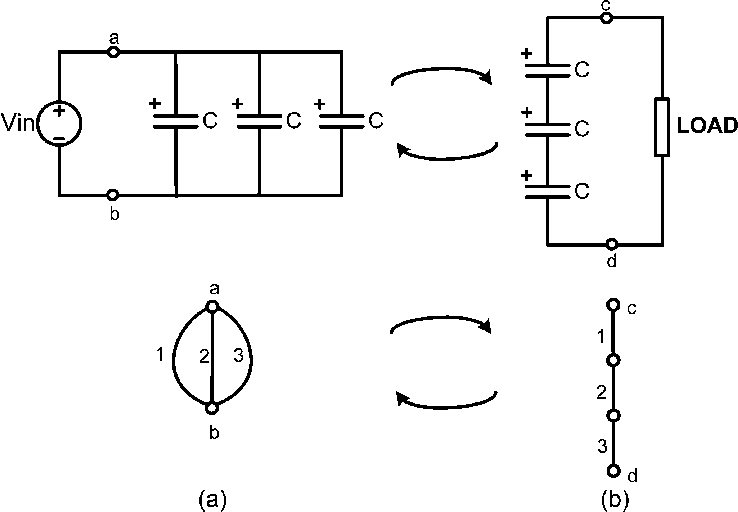 A Charging state of three capacitors in parallel