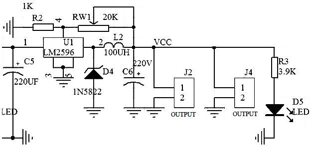 lm2596 adjustable step-down regulator circuit