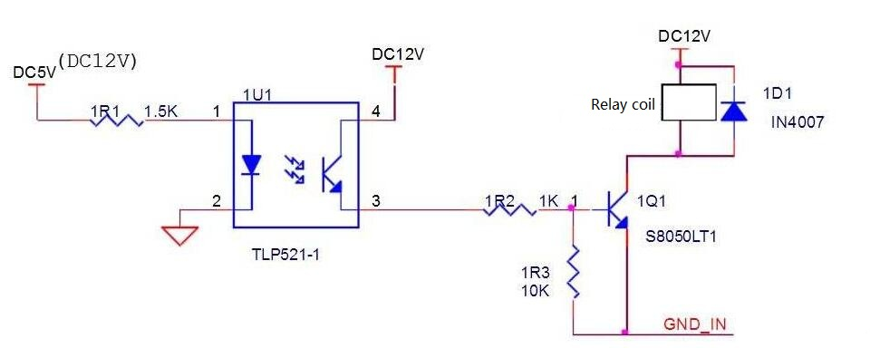 Optical coupling control relay circuit