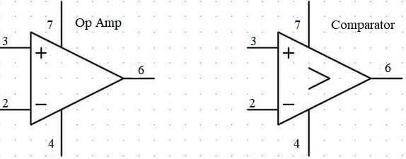 op amp and comparator symbol