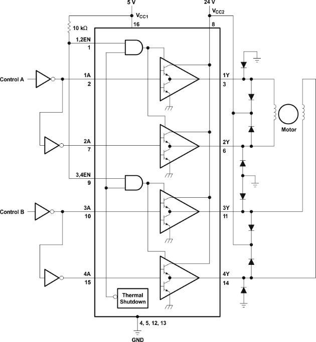 Two-Phase Motor Driver (L293)