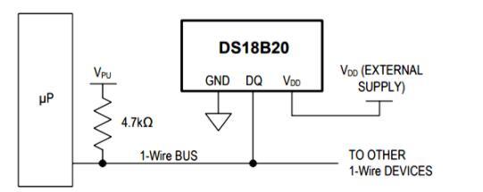 ds18b20 microcontroller circuit diagram