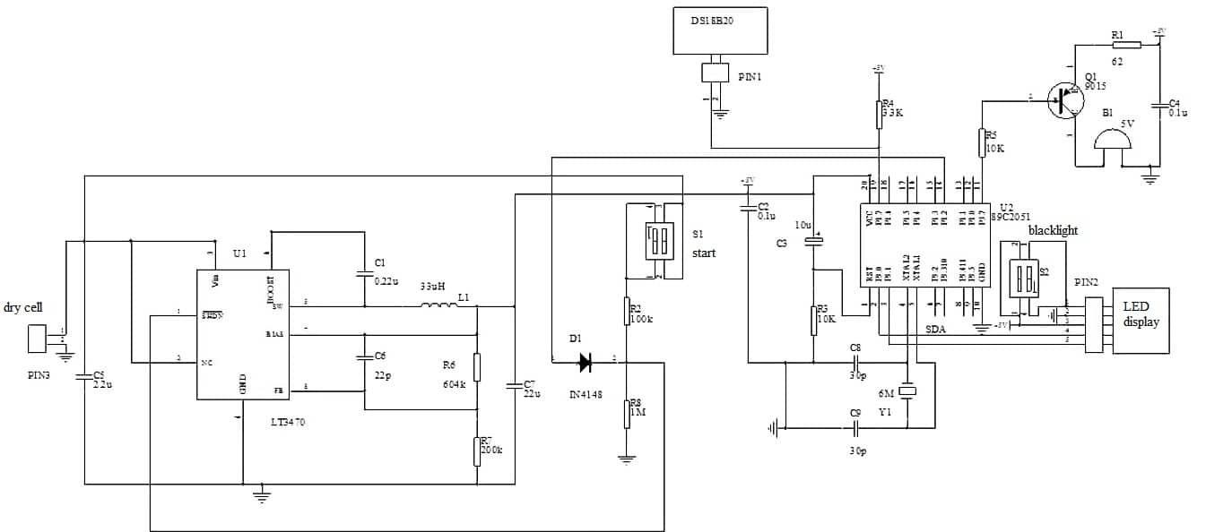 ds18b20 hardware circuit