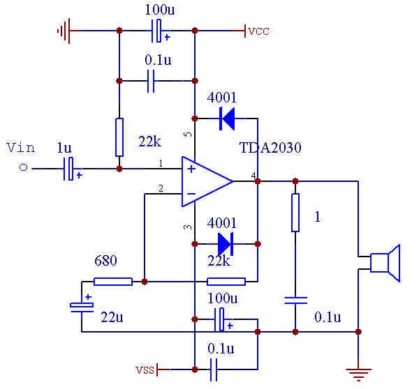 TDA2030 dual power connection diagram