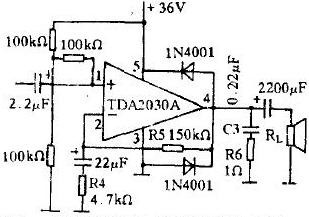 OTL type power amplifier made with TDA2030A