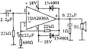 OCL type power amplifier made with TDA2030