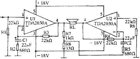 BTL type power amplifier made with TDA2030A