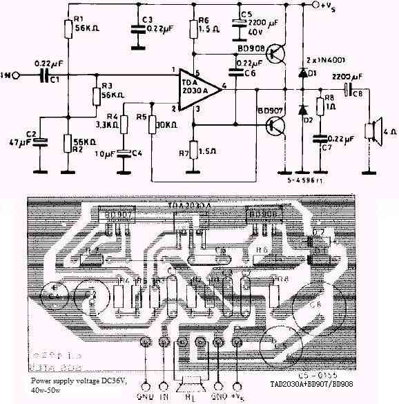 40W power amplifier circuit made by TDA2030