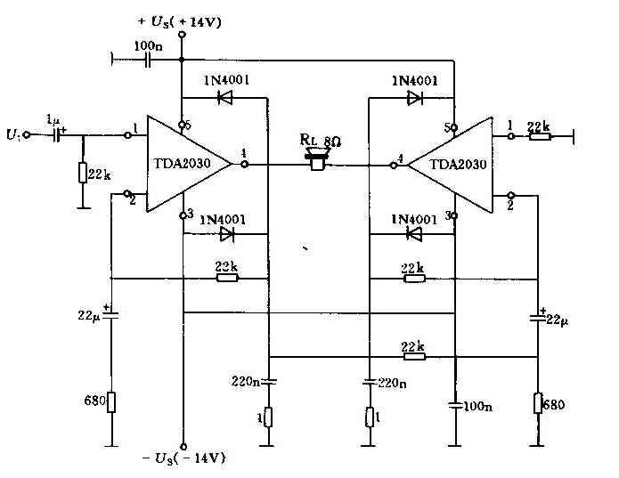 25W bridge low frequency power amplifier circuit