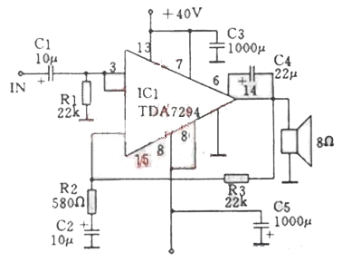 Figure 12 100W power amplifier circuit diagram composed of TDA7294