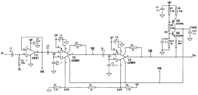 Figure 6 AD603 typical application circuit