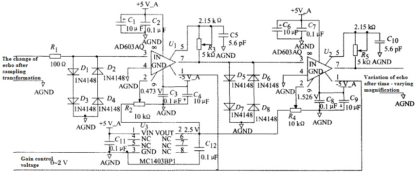 Figure 2 Schematic diagram of variable gain amplifier circuit