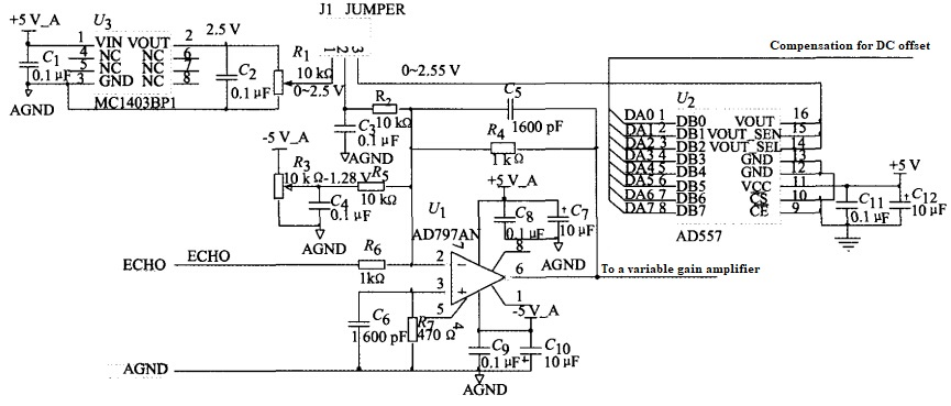 Figure 3 Schematic diagram of the DC offset zeroing circuit of the variable gain amplifier