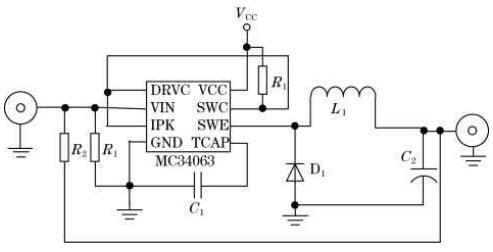 Figure 2 MC34063 step-down circuit