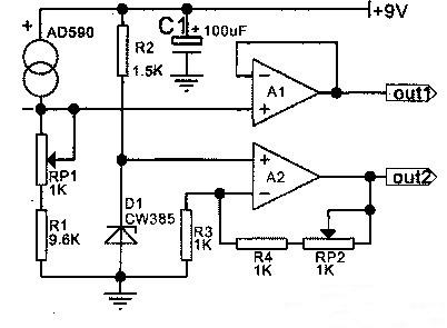 Figure 5 Current→Voltage and Absolute→Celsius Temperature Conversion Circuit.