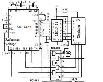 Figure 6 Block diagram of A/D conversion and digital display circuit