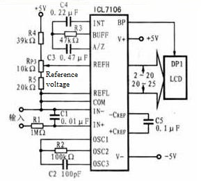 Figure 7 A/D conversion and LCD display circuit block diagram