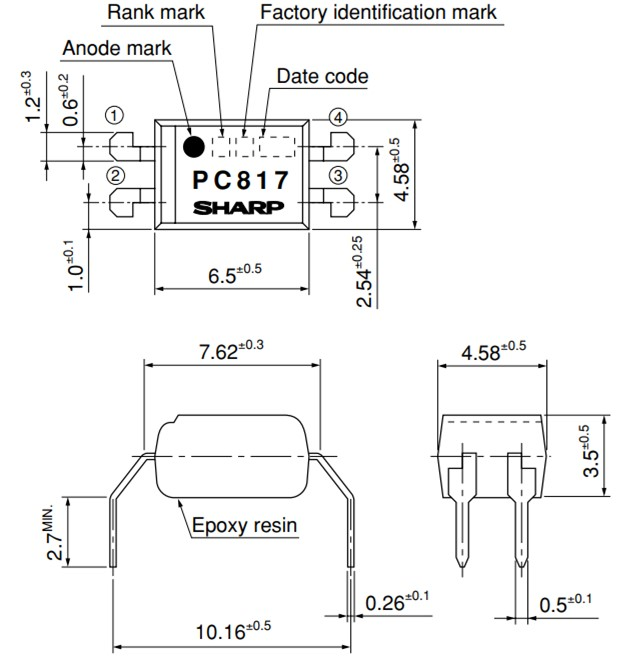 PC817 Package: Wide Through-Hole Lead-Form [ex.PC817XF]
