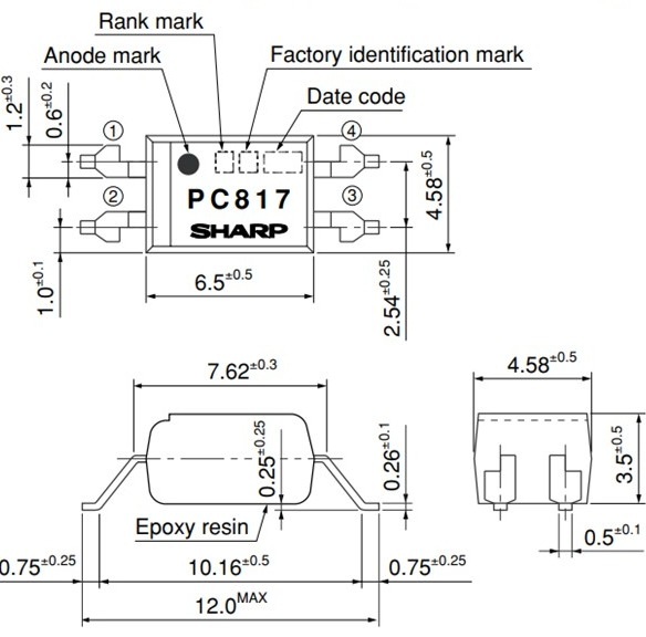 PC817 Package: Wide SMT Gullwing Lead-Form [ex.PC817XFP]